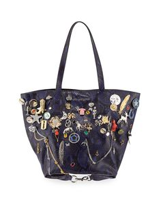 95d4c09e6dd Marc Jacobs Snake-Print Embellished Wingman Shopping Bag