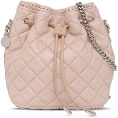 Stella McCartney Falabella Studded Quilted Bucket Bag ($1,020) ❤ liked on Polyvore featuring bags, handbags, shoulder bags, quilted shoulder bag, pink handbags, pink quilted purse, stella mccartney handbags and pink metallic purse