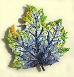 """""""Blue Leaf'' free-form hanging mosaic, Orsoni Smalti by Lynn Moor / http://www.lynnmoor.com/"""