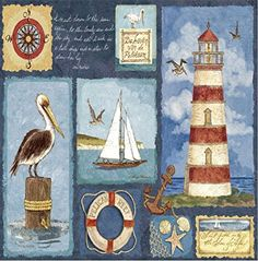 Custom  Cool 35 Inches Set Pack of 4 Square Grip Texture Drink Cup Coasters Made of Flexible Poly Fabric w Rubber Bottom  Beach Scenery Lighthouse Design Colorful Blue Red  White ** Check out the image by visiting the link.