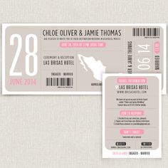 Boarding - Modern destination wedding invitation boarding pass design. $4.00, via Etsy.
