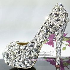 Silver Jeweled Heels