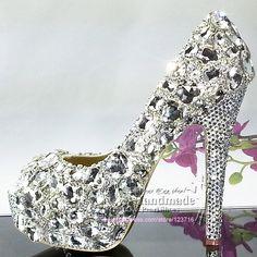 Silver Jeweled Heels