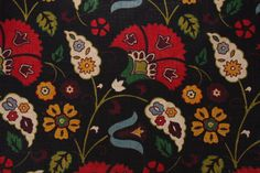 Richbloom Tasha Platinum Collection Printed Linen Blend Drapery Fabric in Licorice