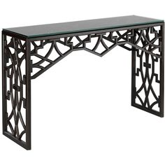 Liadan Global Bazaar Black Wood Trellis Console Table ($1,810) ❤ liked on Polyvore featuring home, furniture, tables, accent tables, wood accent table, black furniture, wood furniture, wooden furniture and black occasional tables
