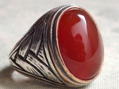 Aqeeq sterling silver red agate men ring middle by antiquesjewelry, $50.00