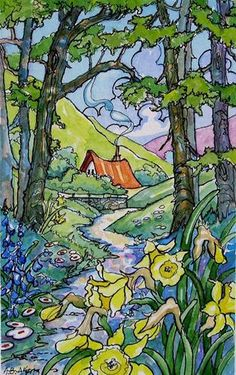 """Springtime Pathway Storybook Cottage Series"" -"