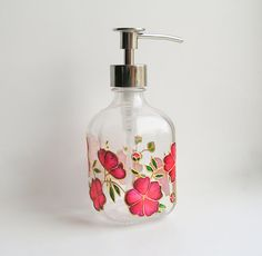 Glass soap dispenser  red flowers soap pump floral by NavkasDecor