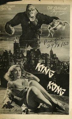 Poster of King Kong directed by Merian C. Cooper and Ernest B. King Kong 1933, Horror Movie Posters, Movie Poster Art, Art Posters, King Kong Vs Godzilla, Tv Movie, Movie Theater, Erich Von Stroheim, Fay Wray