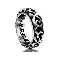 Chryssa Youree Men's Titanium Steel Jewelry Wedding Rings Carved Inner Wall Pitting The Word 6 to 10