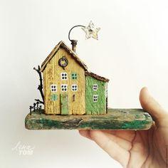 Купить Домик 'Путеводная звезда' миниатюра, домики для интерьера - желтый, домик, весенний домик