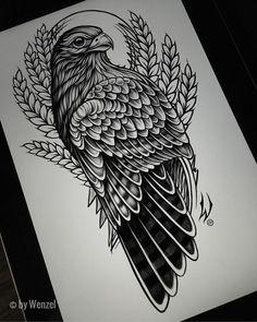 Bird Of Prey Tattoo, Falcon Tattoo, Hawk Tattoo, Tattoo Design Drawings, Tattoo Designs, Body Art Tattoos, Sleeve Tattoos, Tattoo Outline, Tattoo Stencils