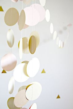 Gold, Blush Pink, Champagne Circle Garland - Gold and Blush Wedding Decor - Pink and Gold Baby Shower - Shabby Chic Neutrals
