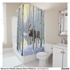 Moose In Winter Season Snow Watercolor Shower Curtain. Ornate, elegant and funky hipster motif for the artistic interior designer, the artsy popular hip trendsetter, vintage mod retro, nouveau deco art style or abstract graphic digital geometric motif lover. Original, modern and whimsical rustic log cabin or mountain lodge home bathroom decor accent.