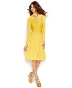 MICHAEL Michael Kors Long-Sleeve Self-Tie Faux-Wrap Dress - Dresses - Women - Macy's