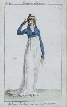 Turban and spencer, French, c. 1801.