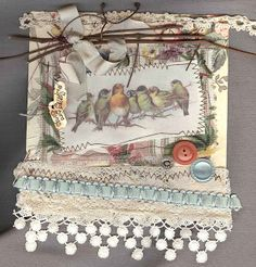 mixed media mini quilt ~ wall hanging