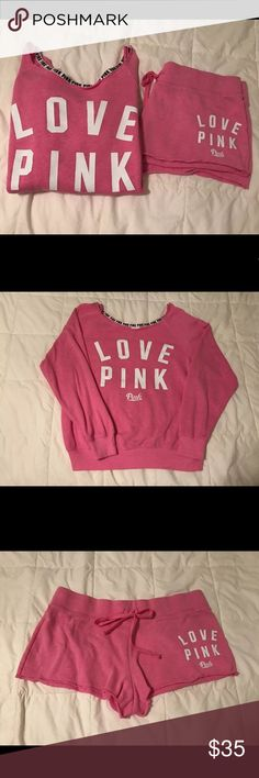 VICTORIAS SECRET PINK TWO PIECE SET SIZE SMALL  Sweatshirt and sweatshorts by VS pink set. Size small. Both in very good used condition. PIECES ARE NOT AVAILABLE FOR INDIVIDUAL SALE! PRICE IS FIRM. PINK Other