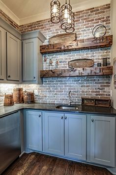 Farmhouse Kitchen With New England Fieldstone Accent Wall 22 . Farmhouse Kitchen With New England Fieldstone Accent Wall 22 Farmhouse Kitchen W Kitchen Redo, Kitchen Styling, New Kitchen, Basement Kitchen, Kitchen With Brick, Basement Bars, Kitchen Rustic, Exposed Brick Kitchen, Kitchen Walls
