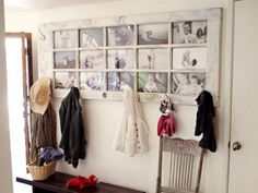 Old door repurposed as coolest picture frame ever... multi-tasking as coat hook, too!