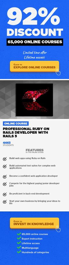 Professional Ruby on Rails Developer with Rails 5 Web Development, Development Courses Organisation, Courses Advertising  Ruby on Rails - Imagine, design, build web apps and bring your dreams to life with Rails 5 Fully up-to-date fall-2017 The Professional Ruby on Rails Developer with Rails 5 is the latest course brought to you by the creators of the best-selling Ruby onRails course on Udemy! Bu...
