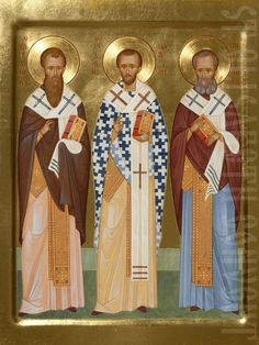 Painted icon 3 holy hierarchs, made to order. Catalog of St Elisabeth Convent. Saint Gregory, John Chrysostom, Paint Icon, St Basil's, Train Up A Child, Russian Orthodox, Orthodox Icons, Religious Art, Angels