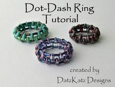 TUTORIAL - Dot-Dash Ring beading pattern bead woven Superduo, bugle and seed beads create a unique ring shape