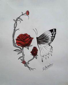 Skull Rose Tattoos, Flower Tattoos, Body Art Tattoos, Sleeve Tattoos, Weird Tattoos, Badass Tattoos, Girly Tattoos, Tatoos, Skull Tattoo Design