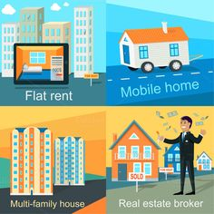 Mobile Home, Flat Rent, Multi-family by robuart on Creative Market