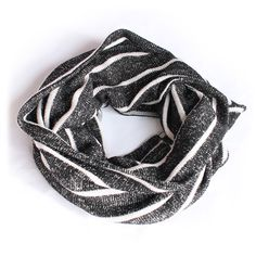 Color Striped Infinity Scarf Shawl Muffler Wrap #KnitScarf Color-Black/White