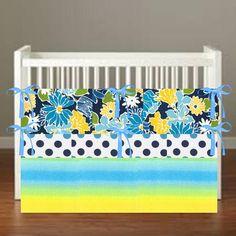 azure bloom Crib Bedding  Nursery Decor 3 Piece Set by flashybaby