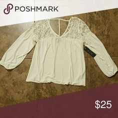 AUW White Lace Flowy Knit Top NWT Soft stretchy material Size small NWT  95% Polyester 5% Spandex AUW Tops Blouses