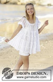 Lizzy - Tunic with fan pattern, flounce and A-shape, crochet top down in DROPS Safran. Size S-XXXL. - Free pattern by DROPS Design