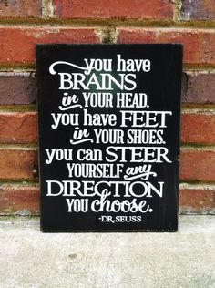 Distressed Graduation Sign  You have Brains  by TurquoiseWoodWorks, $28.00