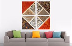 Chaos in the Sky, Large 40 W x 40 H, Multi-Panel Artwork. The lines on each canvas are structured to create a large diamond shape with triangles inside of this diamond. This creates a focal point for the piece concentrating on this unique geometric element. Impasto texture with bold colors, Oil and Ink on Canvas.     https://alexandraromanoart.com/collections/abstract-expressionism/products/chaos-in-the-sky-original-abstract-painting-large-40-w-x-40-h-4-panel-artwork #abstractart…