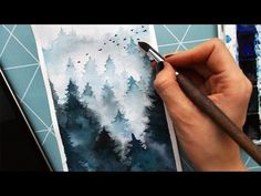 How to Paint Fog With Watercolor.Trees in the mist. Как рисовать деревья/лес в тумане акварелью. - YouTube
