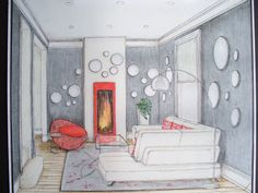 Perspective drawing and designed project: Modern style house. White leather sectional sofa backing grey wall decorated with round mirrors. Orange is the accent colour as in the fireplace, bowl accent chair and cushions.