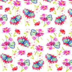 Blue Butterflies fabric by countrygarden on Spoonflower - custom fabric