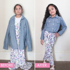 DIY Adult Top & Dress to Child's Top and Pants Upcycle / Refashion Diy Dress, Dress Up, Snow White Dresses, Diy Adult, Pants Pattern, Green Fabric, S Shirt, Refashion, Get Dressed
