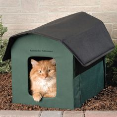"The Only Heated Outdoor Cat House - ""Our adopted outside kitty loves it. Keeps her cozy and warm during the frigid Michigan winter. It seems to be the ideal size. She seems to feel safe, comfy and secure when she's in it. Double entry is an exceptionally good design move. We keep it on our back porch. Kitty rates her condo a five star winner."" - Michael in Michigan"