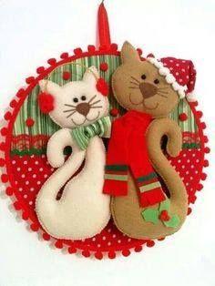 Resultado de imagen para gatitos fieltro navidad