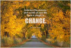 Embrace the seasons and cycles of your life. There is magic in change. - Bronnie Ware #change #quote #inspirational #inspirationalquote #inspirationalwords