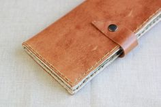 Tan Leather Wallet with 3 Cash Compartments and 6 Card Pockets