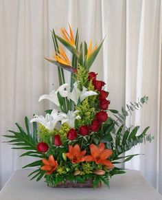 Valentine's Day Flower Arrangements, Contemporary Flower Arrangements, Flower Arrangement Designs, Altar Flowers, Church Flowers, Funeral Flowers, Flower Centerpieces, Flower Decorations, Cemetery Flowers