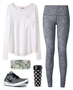 Comfy by classygrace ❤ liked on Polyvore featuring Organic by John Patrick, NIKE, lululemon, Kate Spade, Casetify and gracesfavorites