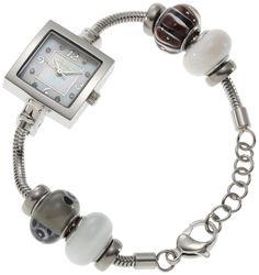 Mon Ami Women's 21501 Glass Bead Collection Black Mother-Of-Pearl Dial Watch, (glass beads, pandora, pandora beads)