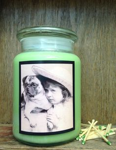 "Sweet Melon Scent / Candle in a Jar / ""Pug Love"" / Coconut Wax by ShayCandles on Etsy"