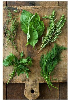 herbs + cutting board