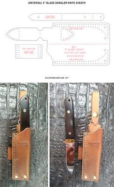 5 Universal Dangler Knife Sheath Template Set W/options - New Item For 2017 Leather Knife Sheath Pattern, Leather Pattern, Diy Leather Splitter, Leather Working Kit, Knife Sheath Making, Axe Sheath, Diy Leather Craft Tools, Leather Repair, Tandy Leather