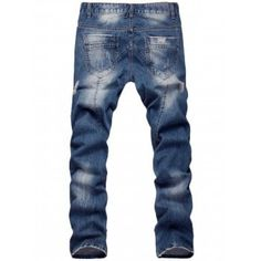 Faded Zipper Fly Straight Leg Distressed Jeans - BLUE 32